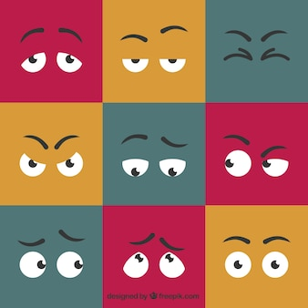 Cartoon expressive eyes set