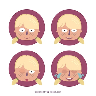 Cartoon faces of a girl