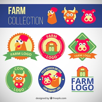 Cartoon farm logos pack