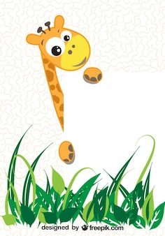 Cartoon giraffe holding a white paper