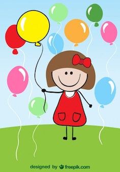 Cartoon girl surrounded by balloons