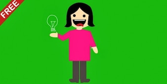 Cartoon girl with bulb on green background