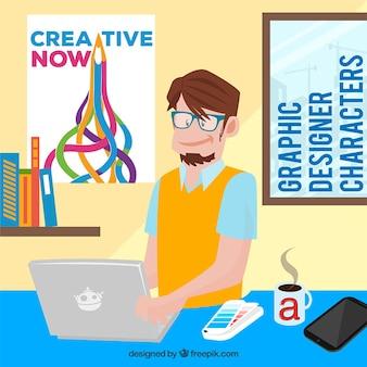 Cartoon graphic designer