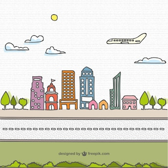 Cartoon hand drawn city