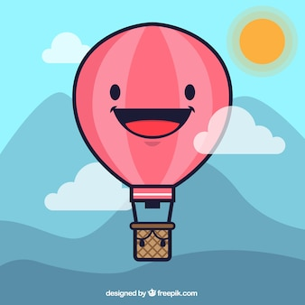 Cartoon hot air balloon