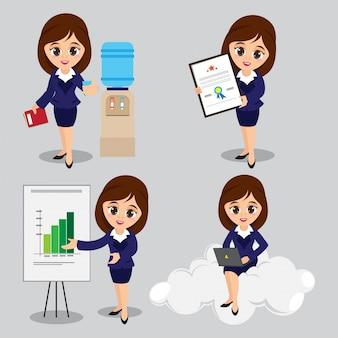 4つの異なるポーズで若いビジネス女性のキャラクターの漫画のイラスト