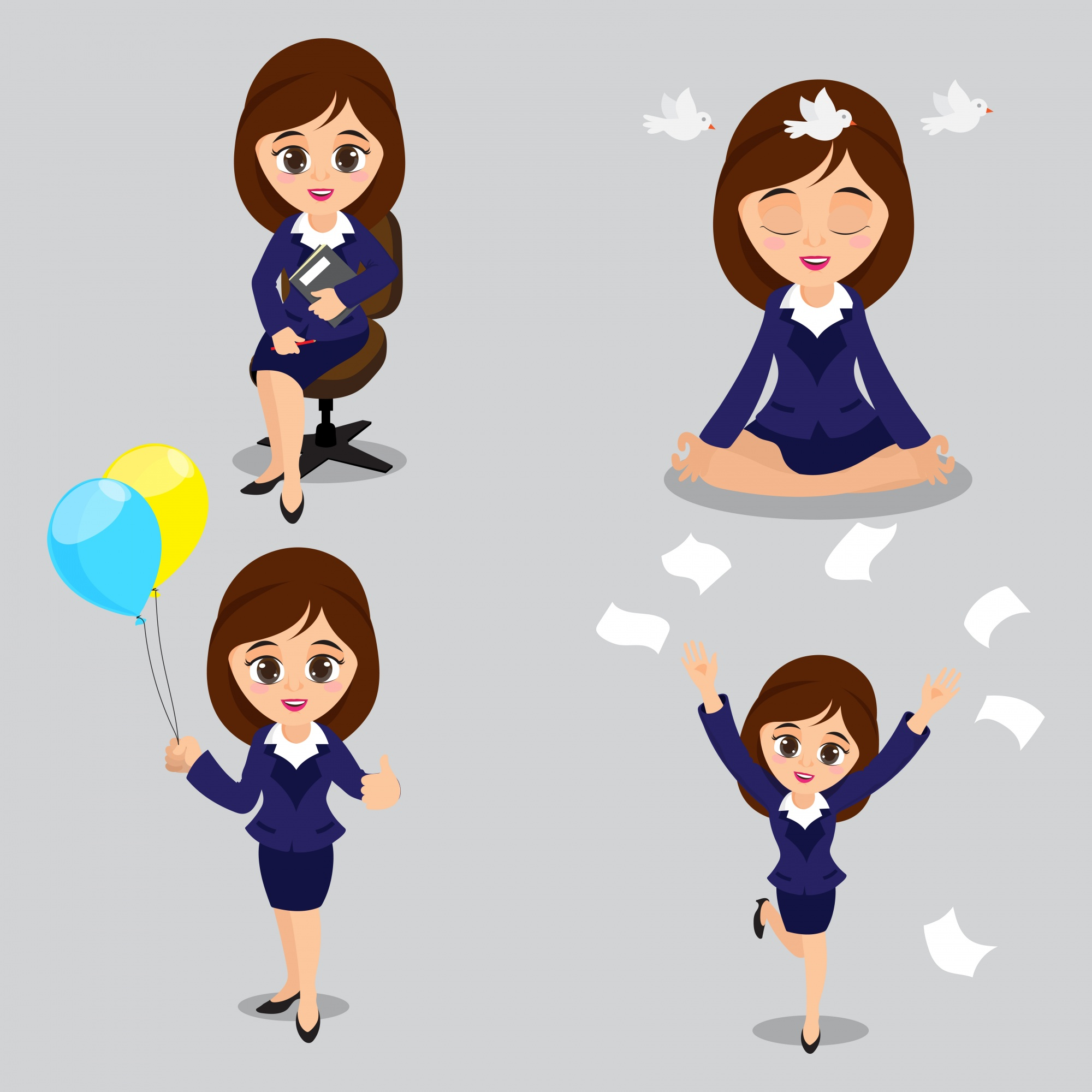 Cartoon illustration of Young Business Women in four different poses