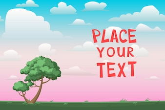 Cartoon landscape with template for text