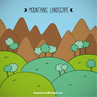 Cartoon montains landscape with tree