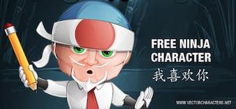 Cartoon ninja businessman character