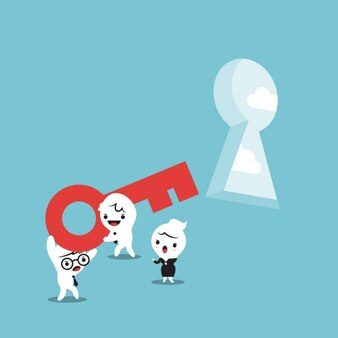 Cartoon of business people with a key