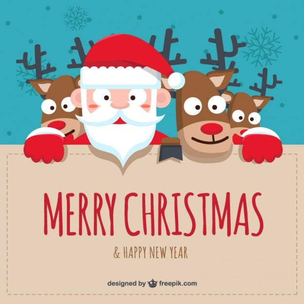 Cartoon santa claus and reindeers background