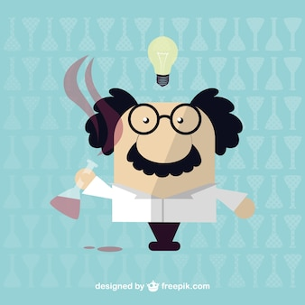 Cartoon scientist with a test tube