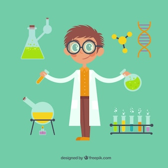 Cartoon scientist with chemical elements
