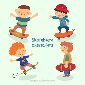 Cartoon skateboard characters pack
