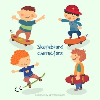 Cartoon skateboard characters pack