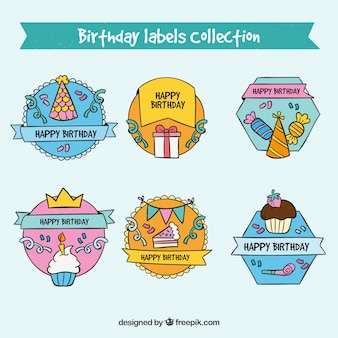 Cartoon style birthday labels collection