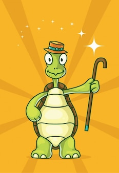 Cartoon turtle with cane