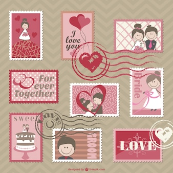 cartoon wedding cards vector