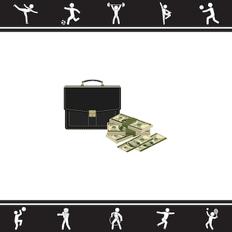 Case and a bundle of money. vector illustration