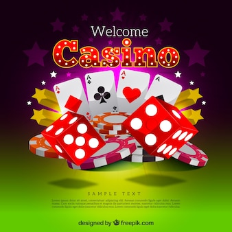 Casino background with red dice and cards