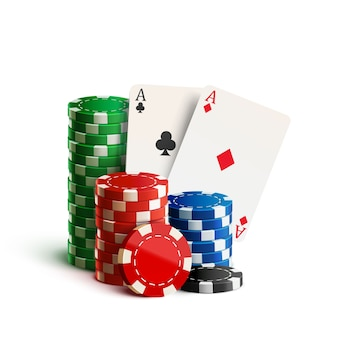 Casino chips and cards isolated on white realistic theme