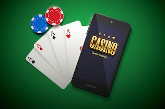 Casino chips and mobile isolated on green background