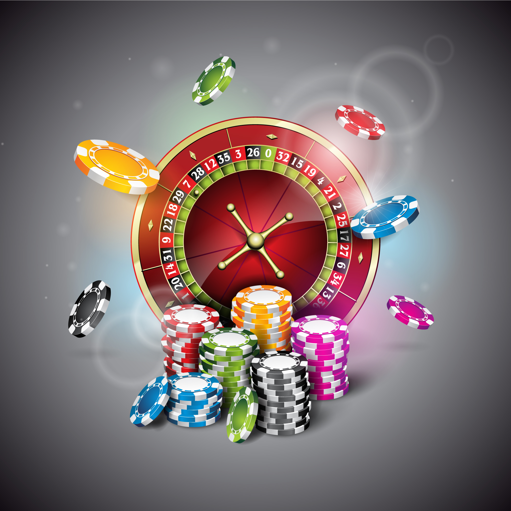 Casino chips and roulette background