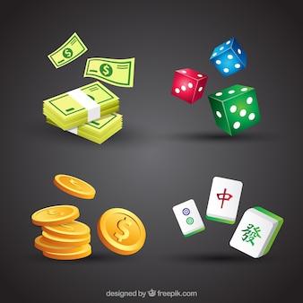 黒の背景にカジノの要素のコレクション
