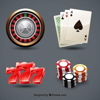 グレーの背景にカジノの要素のコレクション
