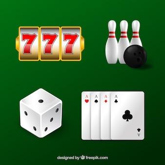 灰色の背景にカジノの要素