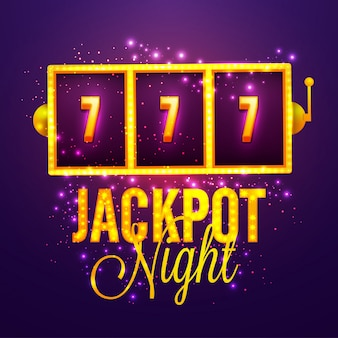 Casino Jackpot Night background with Golden Slot Machine.