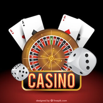 Casino roulette background with dice and cards