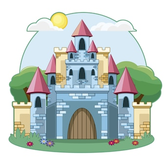 Castle Silhouette On A Cliff Background Vector Free Download