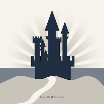 Castle silhouette on a cliff background