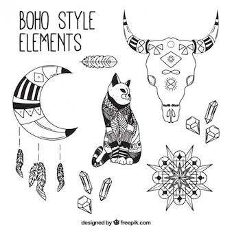 Cat and boho objects pack