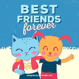 Cat and dog friendship day background