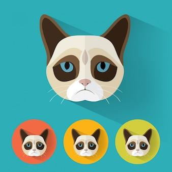 気難しい猫動物の肖像画