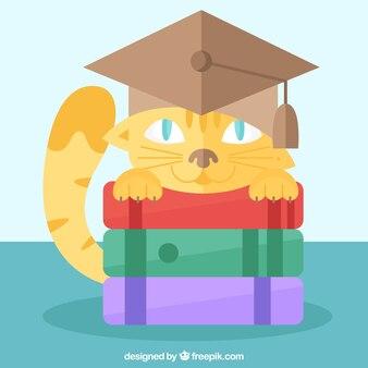 本とmortarboardと猫の背景
