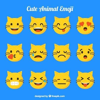 面白い表情を持つ猫の絵文字セット
