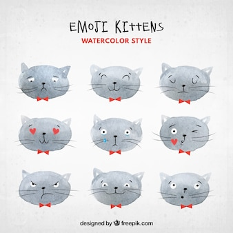 Cat emoticons in watercolor style