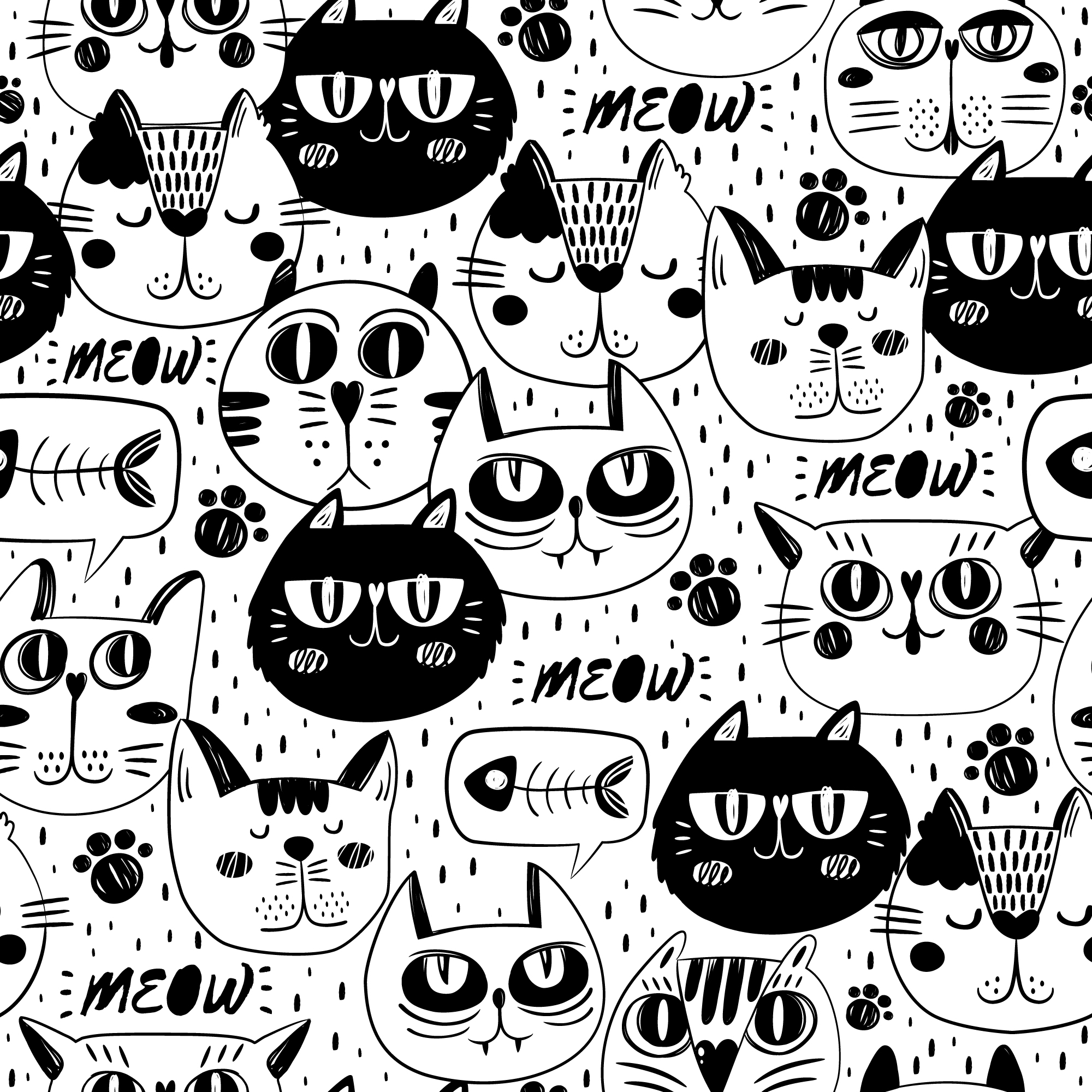 Cat faces pattern background