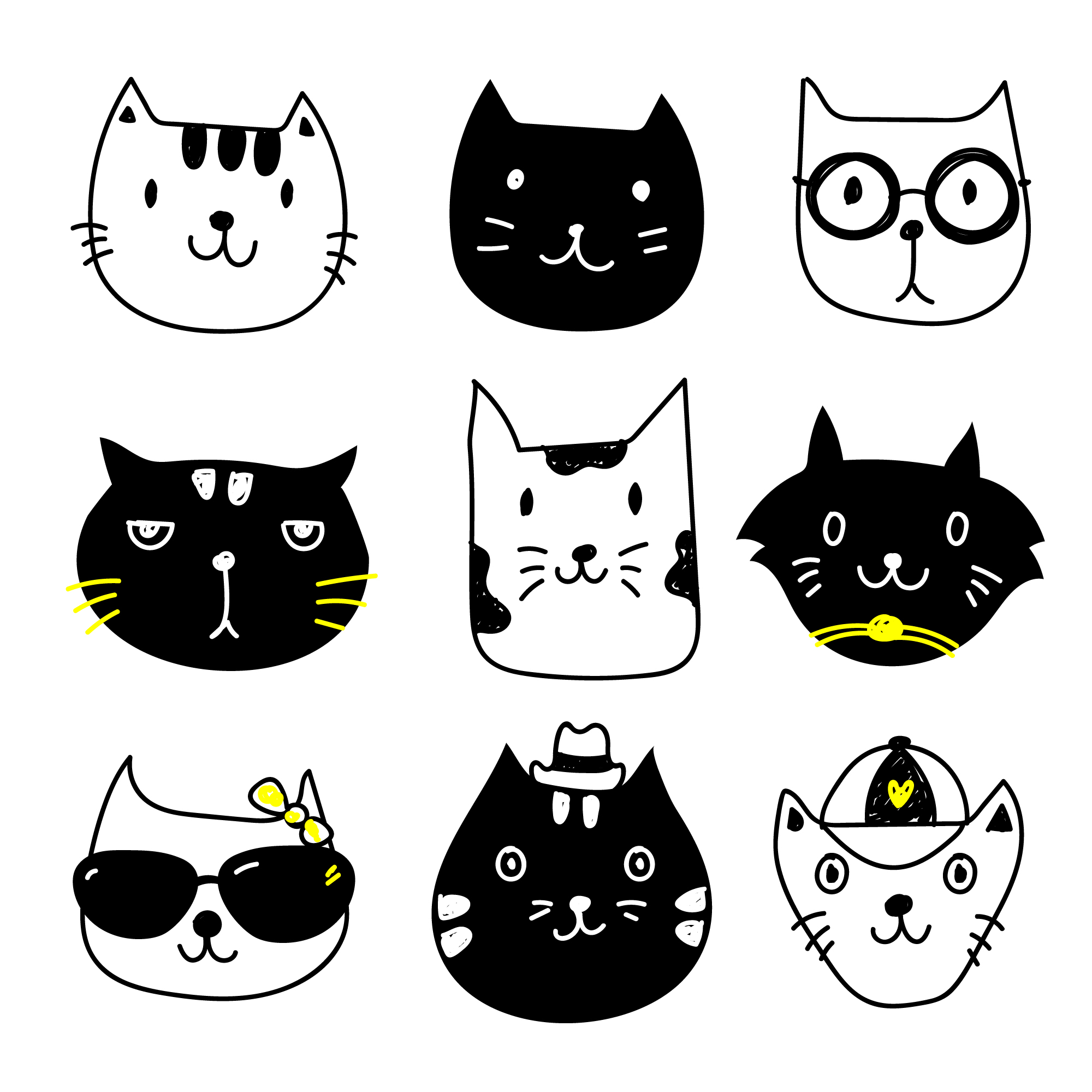 Cat icons collection
