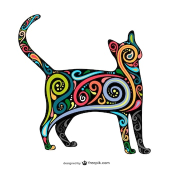 Cat silhouette with colorful swirls