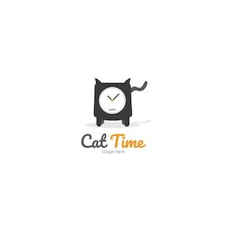 猫の時間、猫と腕時計のコンセプトのロゴテンプレート