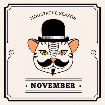 Cat with moustache and hat to celebrate movember