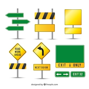 Caution road signs