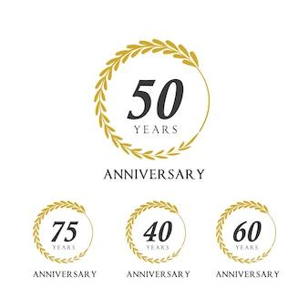 Celebrating Anniversary golden laurel wreath