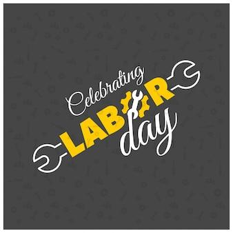 幸せな労働者の日クリエイティブタイポグラフィーと労働者のレンチと黒のパターンの背景