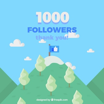 Celebration background of 1k followers with flag on top of the mountain